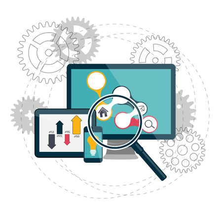 Illustration for Search Engines Optimization Concept Vector Illustration - Royalty Free Image