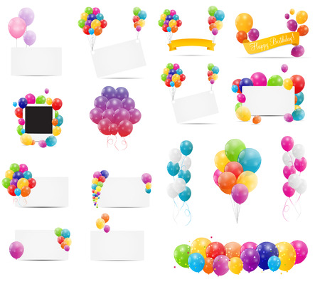 Illustration pour Color Glossy Balloons Card Mega Set Vector Illustration - image libre de droit