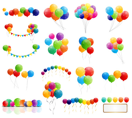 Illustration pour Color Glossy Balloons Mega Set Vector Illustration - image libre de droit