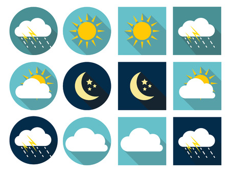 Illustration pour Weather Icons with Sun, Cloud, Rain and Moon in Flat Style with Long Shadows EPS10 - image libre de droit
