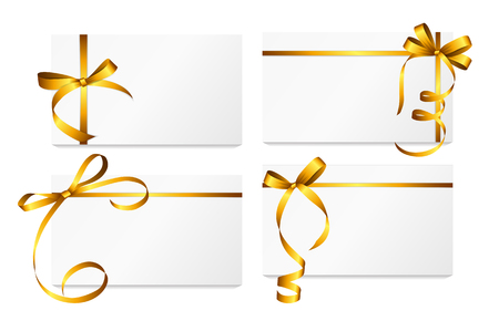 Ilustración de Gift Card with Gold Ribbon and Bow Set. - Imagen libre de derechos