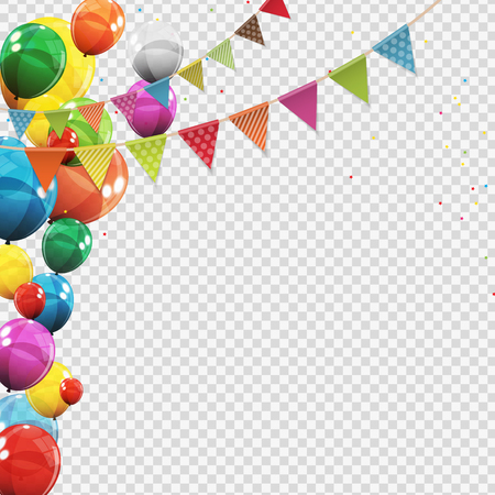 Illustration pour Group of Colour Glossy Helium Balloons Isolated on Transperent  Background. Set of  Balloons and Flags for Birthday, Anniversary, Celebration  Party Decorations. Vector Illustration - image libre de droit
