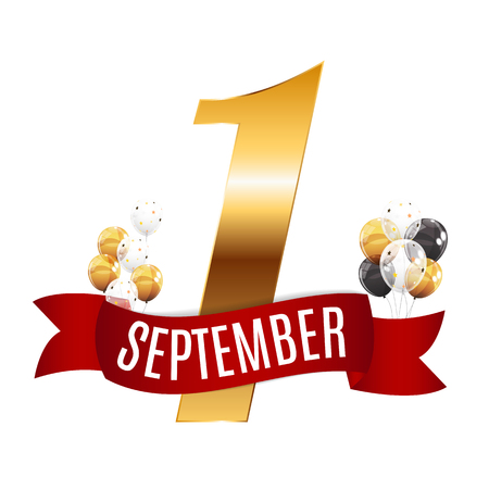 Ilustración de First 1 September Template Vector Illustration - Imagen libre de derechos