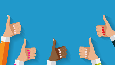 Illustration pour Flat Design Thumbs Up Background . Vector Illustration - image libre de droit