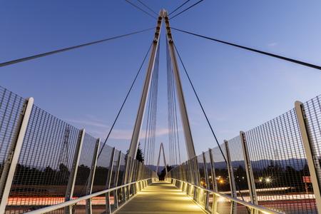 Photo for Dusk over Don Burnett Bicycle-Pedestrian Bridge (aka Mary Avenue Bicycle Footbridge). Cupertino, Santa Clara County, California, USA. - Royalty Free Image