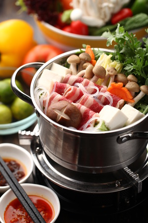 Photo for Japanese hot pot with delicious food ingredient - Royalty Free Image