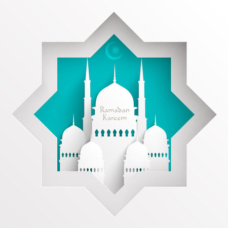 Illustration for Vector 3D Paper Mosque  Translation  Ramadan Kareem - May Generosity Bless You During The Holy Month  - Royalty Free Image