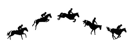 Illustration for Horse race. Equestrian sport. Silhouette of racing horse with jockey. Jumping. Five steps. - Royalty Free Image