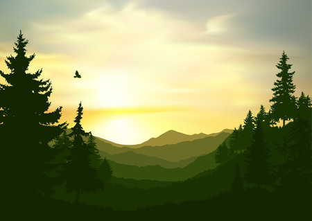 Illustration for Nature background of mountains panorama. Colorful sunset in wild valley. Windy sky. - Royalty Free Image