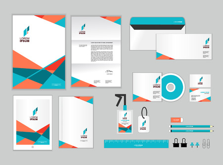 Foto de corporate identity template includes CD Cover, Business Card, folder, ruler, Envelope and Letter Head Designs - Imagen libre de derechos