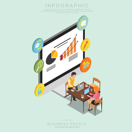Illustrazione per Isometric Business People Teamwork Meeting in office, share idea,  infographic vector design Set N - Immagini Royalty Free