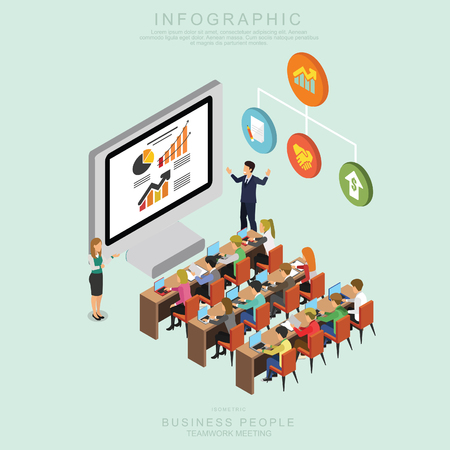 Illustrazione per Isometric Business People Teamwork Meeting in office, share idea,  infographic vector design Set O - Immagini Royalty Free
