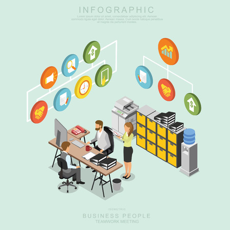 Illustrazione per Isometric Business People Teamwork Meeting in office, share idea,  infographic vector design Set U - Immagini Royalty Free