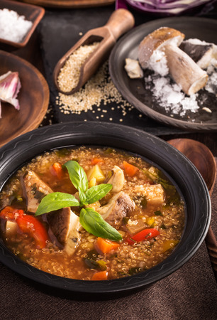 Mushroom quinoa soup on table