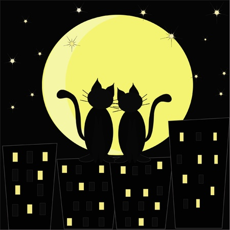 Silhouettes of two enamoured cats against the night city and the moon