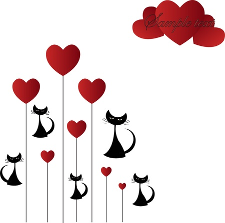 Black cat with hearts on a white background