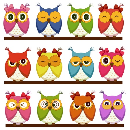 Photo for Set of 12 owls with different emotions - Royalty Free Image