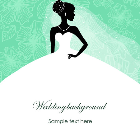 A beautiful silhouette of a bride in a dress on a turquoise background with patterns