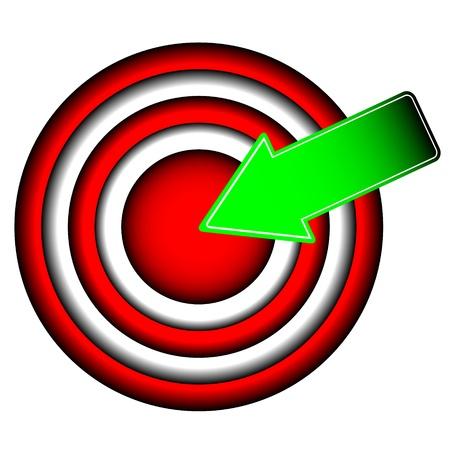 Ilustración de The big round purpose with a green arrow - Imagen libre de derechos