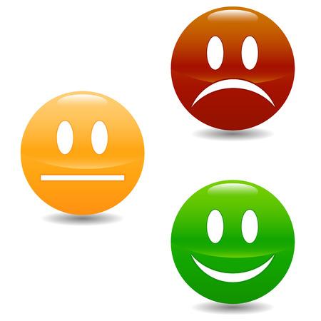 Ilustración de Smile colored buttons on a white background - Imagen libre de derechos