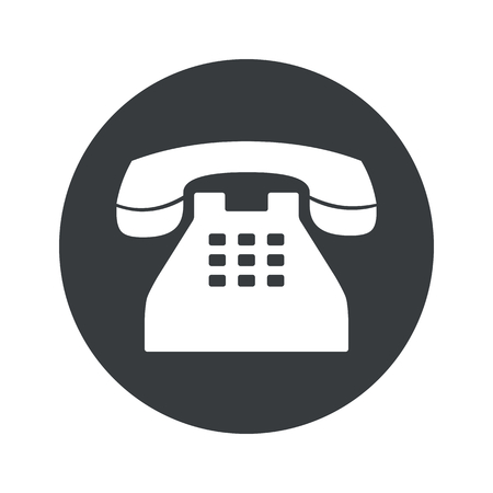 Illustration pour Image of old phone in black circle, isolated on white - image libre de droit