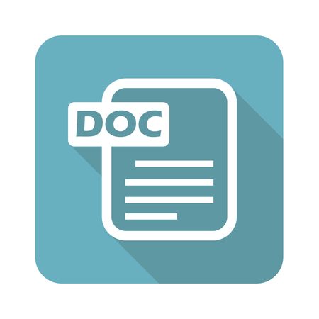 Ilustración de Image of document page with text DOC in blue square, isolated on white - Imagen libre de derechos