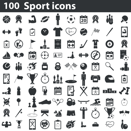 Ilustración de 100 sport icons set, black, on white background - Imagen libre de derechos