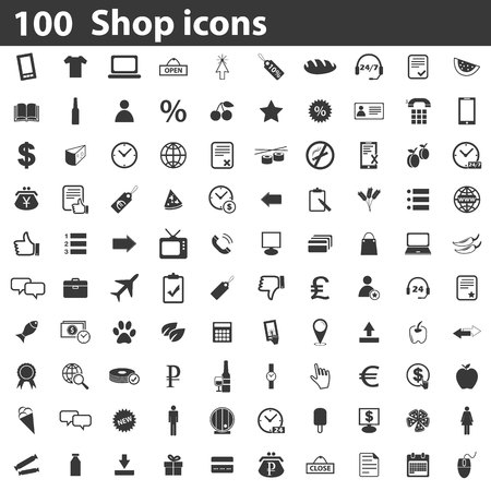 Ilustración de 100 Shop icons set, simple black images on white background - Imagen libre de derechos