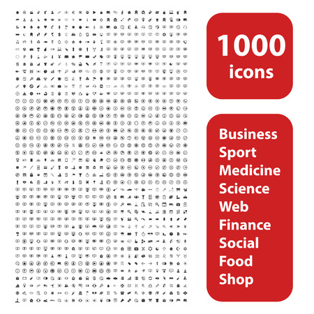 Illustration for 1000 icons set, different black signs and symbols on white background - Royalty Free Image
