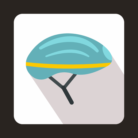 Bicycle helmet icon in flat style with long shadow. Accessories symbol