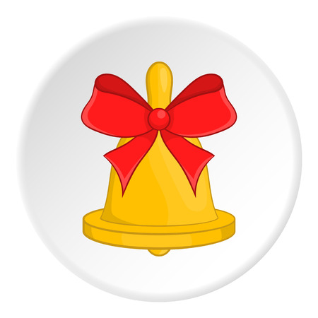 Bell with red bow icon.  illustration of bell vector icon for web