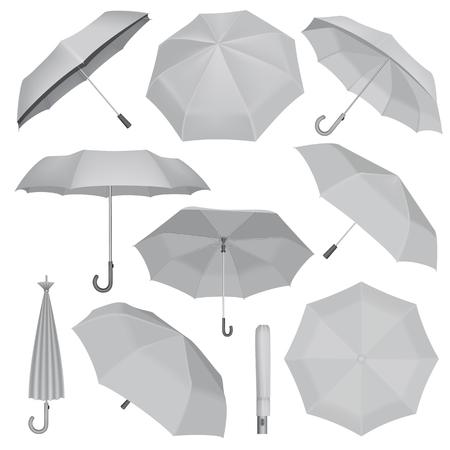 Illustration for Umbrella mockup set. Realistic illustration of 10 umbrella mockups for web - Royalty Free Image
