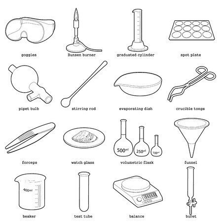 Chemical laboratory tools icons set, outline style
