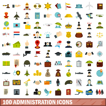 Illustration pour 100 administration icons set, flat style - image libre de droit