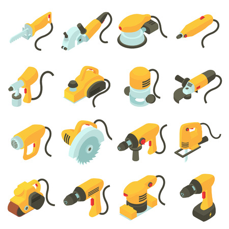 Illustration for Electric tools icons set. Isometric cartoon illustration of 16 electric tools vector icons for web - Royalty Free Image