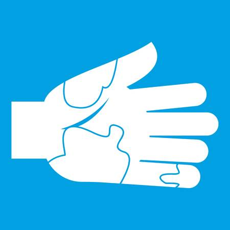 Ilustración de Hand with stains icon white isolated on blue background vector illustration - Imagen libre de derechos