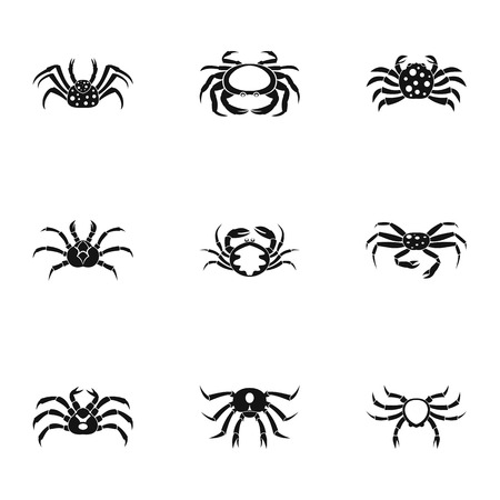 Types of crab icons set. Simple set of 9 types of crab vector icons for web isolated on white background