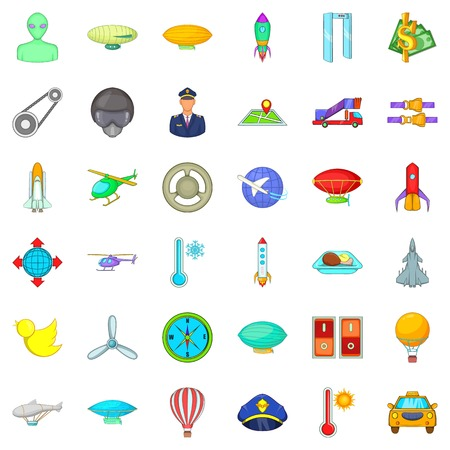 Illustration pour Air force icons set. Cartoon style of 36 air force vector icons for web isolated on white background - image libre de droit