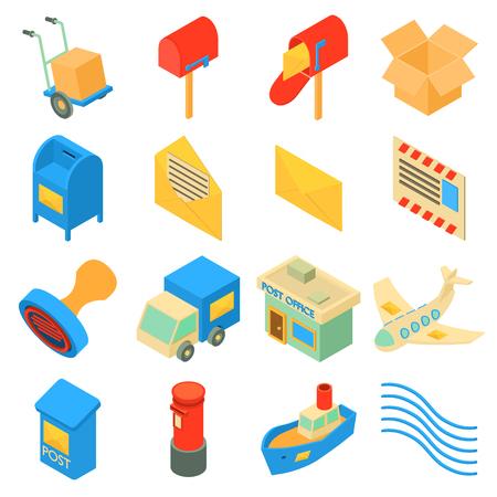 Illustration pour Poste service icons set. Isometric illustration of 16 poste service icons set vector icons for web - image libre de droit