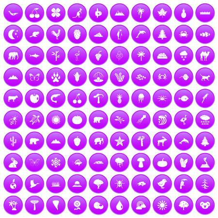 100 nature icons set purple