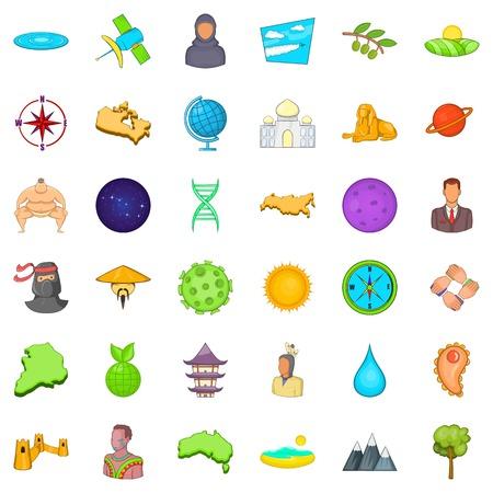 Big world icons set. Cartoon style of 36 big world vector icons for web isolated on white background