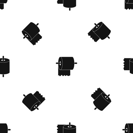 Illustration pour Roll of toilet paper on holder pattern repeat seamless in black color for any design. Vector geometric illustration - image libre de droit