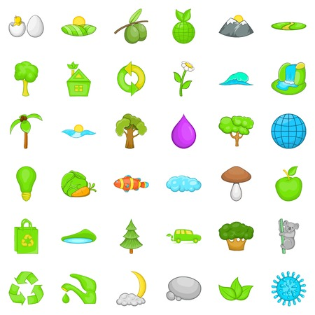 Illustration pour Green planet icons set. Cartoon style of 36 green planet vector icons for web isolated on white background - image libre de droit