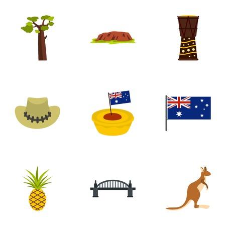 Australia travel icon set. Flat style set of 9 Australia travel vector icons for web isolated on white background