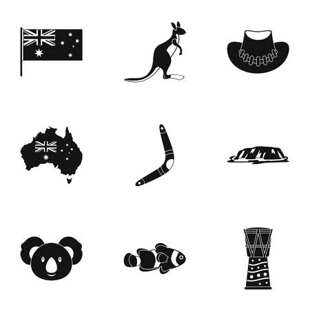 Australian symbols icon set. Simple style set of 9 Australia symbols vector icons for web isolated on white background