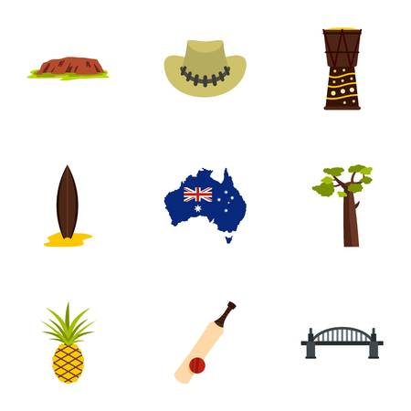 Landmarks of Australia icon set, flat style