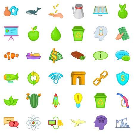 Illustration pour Eco house icons set, cartoon style - image libre de droit