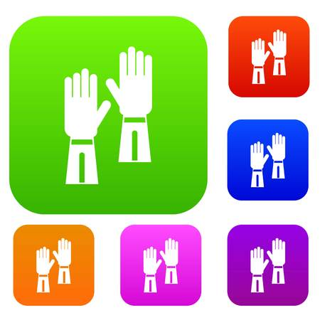 Gloves set icon in different colors isolated vector illustration. Premium collection