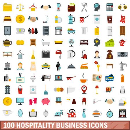 Ilustración de 100 hospitality business icons set, flat style - Imagen libre de derechos