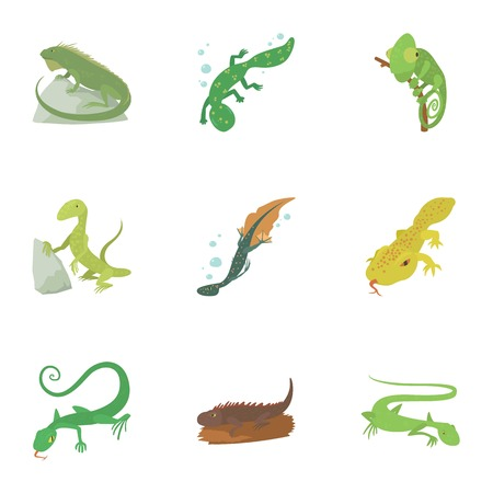 Types of reptile icons set, cartoon style